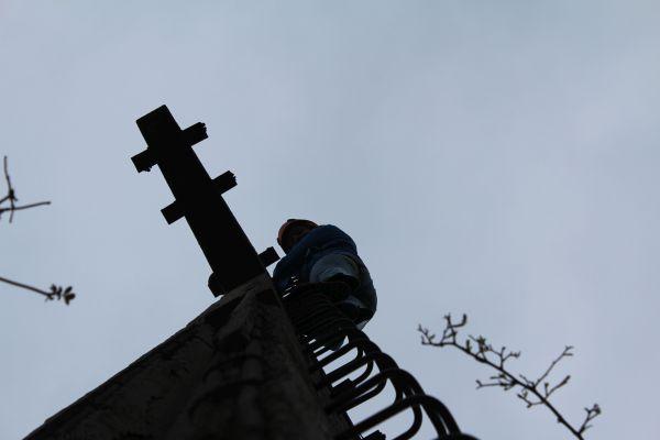 Der Mast - Angie ist schon fast oben
